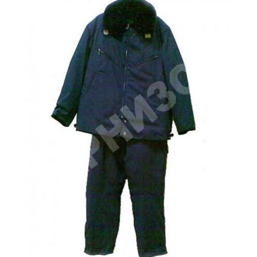 Костюм лётный меховой (куртка+ полукомбинезон) синего цвета 9883