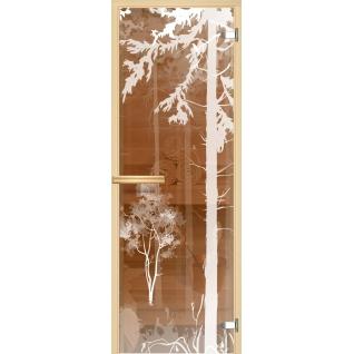 Дверь для сауны АКМА Арт-серия GlassJet ЛЕС v2 7х19 (коробка -осина/липа)
