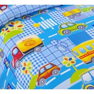 Комплект ясельного постельного белья Машинки, бязь