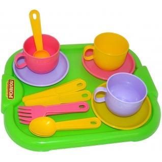 """Набор детской посуды """"Минутка"""" с подносом на 3 персоны Полесье"""