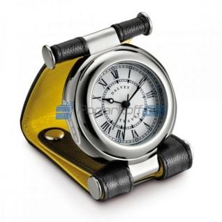 """Часы путешественника в кожаном чехле, черный/желтый, фактура """"caviar"""""""