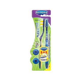 Зубная щетка средней жесткости ASTERA FLEX ACTIVE 1+1 шт