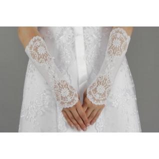 Перчатки свадебные №211, белый (средней длины)