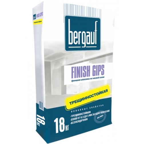 БЕРГАУФ Финиш Гипс шпаклевка финишная гипсовая (18кг) белая / BERGAUF Finish Gips финишная шпатлевка на гипсовой основе (18кг) белая Бергауф 36984042