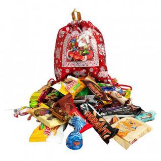 Новогодний сладкий подарок Рюкзачок Подарки Деда Мороза Красн 1200гр R-510R МосУпак