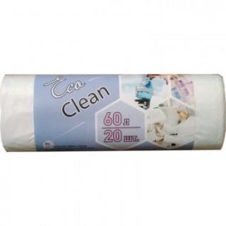 Мешки для мусора ПНД 60л 7мкм 58х68см 20шт/рул.,белые Ecoclean