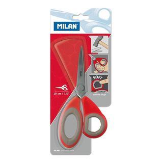 Ножницы Milan нерж. сталь, 190 мм, ассиметр.ручки с резин.вставками, красн.