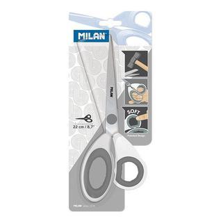 Ножницы Milan нерж. сталь, 220 мм, ассиметр.ручки с резин.вставками, белые