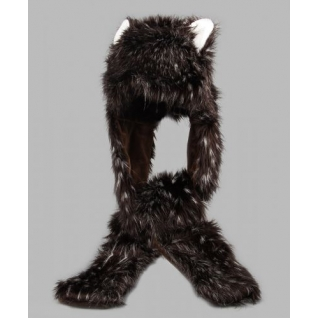 TrueFur Шапка меховая с рукавицами Дикий зверь H0050