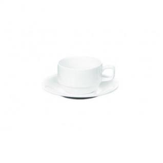 Чайная пара,Wilmax белая, фарфор, чашка 220 мл., блюдце d-14 см. WL-993008