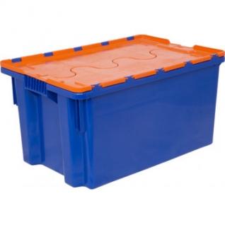 Ящик п/э 600х400х300 сплошной синий, с крышкой оранжевой (601-1)