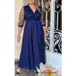 Платье шифоновое с поясом большого размера