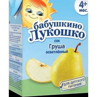 """Сок """"Груша"""" (с 4 мес.), осветленный, 200 мл Бабушкино лукошко"""