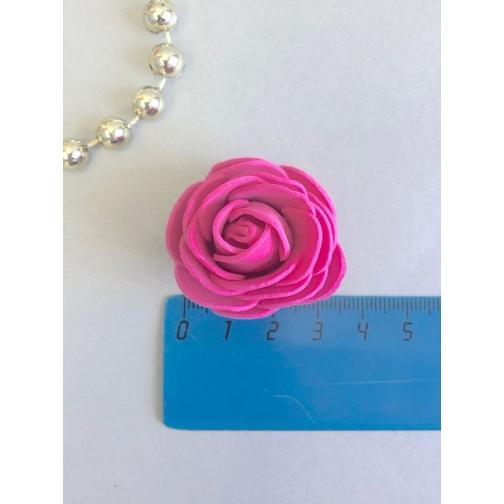 Роза из латекса 35мм, круглая, 1 шт, фуксия 36977830