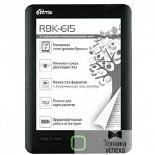 "Ritmix RITMIX RBK-615 E-Ink, 6"", 758 x 1024 , 4 Гб microSDHC, TXT, fb2, JPEG"