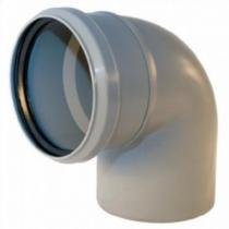Отвод для трубы фановой серой, раструб под 110мм - 110мм, 90°