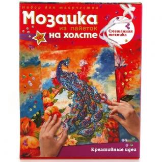 """МОЗАИКА ИЗ ПАЙЕТОК НА ХОЛСТЕ """"ПАВЛИН"""" в кор.7шт Изготовитель:"""" Shantou City Daxiang Plastic Toy Products Co., Ltd"""