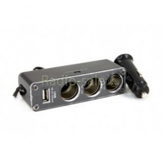 Автомобильный Разветвитель прикуривателя на 3 гнезда + выход USB 5V 0,5A WF-0096