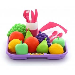 Набор продуктов №2 с посудкой и подносом (21 элемент) (в сеточке) Полесье