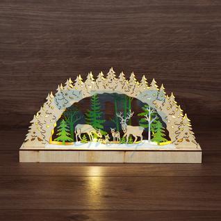 Neon-Night Деревянная фигурка с подсветкой «Семейство оленей» 30х5х15,7 см