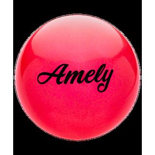 Мяч для художественной гимнастики Amely Agb-102, 19 см, красный, с блестками