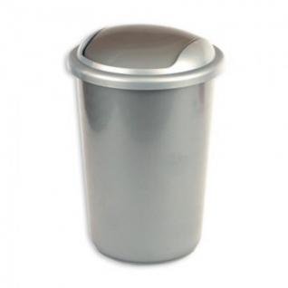 Ведро мусорное 12л пластик, серый металлик с крышкой-вертушкой