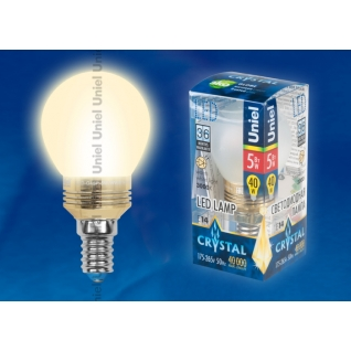 Uniel LED-G45P-5W/WW/E14/FR ALC02GD пластик