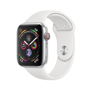 Часы Apple Watch Series 4 GPS+Cellular 44mm Stainless Steel Case with White Sport Band MTV22