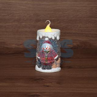 Neon-Night Керамическая фигурка «Свечка со снеговиком» 10.5х9х17.6 см
