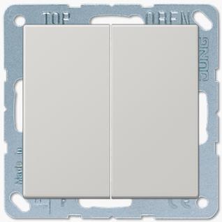 Выключатель Jung LS серия (505U-LS995LG) двухклавишный 10А светло-серый пластик