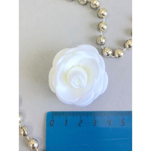 Роза из латекса 40мм, круглая, 1 шт, белый 36977832