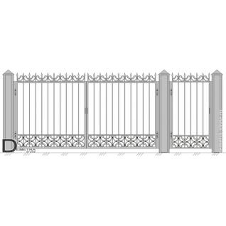 Кованые ворота с калиткой В-004 (кв.м)