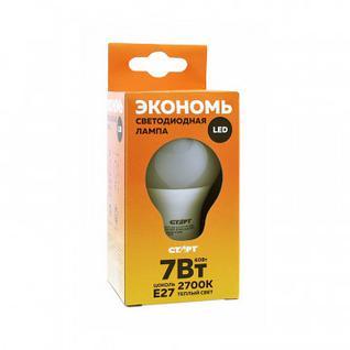 Лампа светодиодная Старт 7W E27 2700k тепл.бел.шар ECO