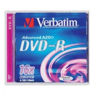 Носители информации Verbatim DVD-R 4,7Gb 16х Jewel/1 43519