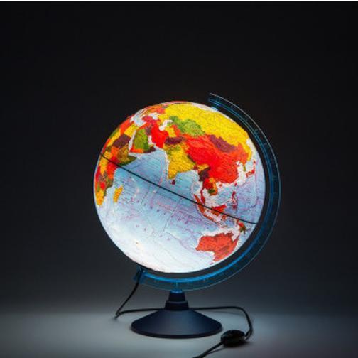 Глобус интерактивный физико-политический с подсв.,рельеф.,320мм,INT13200290 40111342