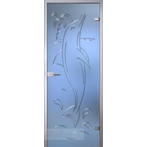 Стеклянная межкомнатная дверь Fantasy Дельфин с гравировкой (полотно)