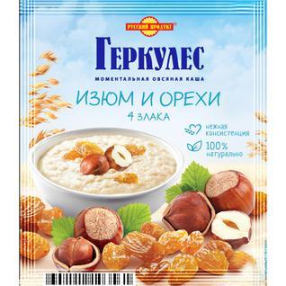 Русский продукт Овсяная каша момент Геркулес 4 злака с изюмом и орехами 40г