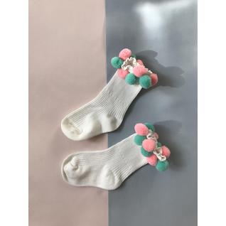 3938 носки детские с помпонами белый Роза (12-18) (14)