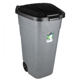 Контейнер-бак мусорный 110л пластик, цвет серый, на колесах