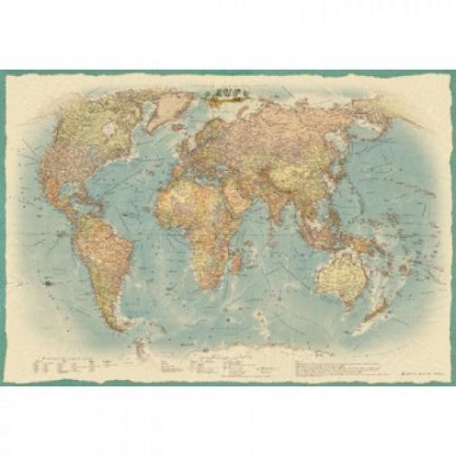 Настенная карта Мир политическая 1:22млн.,1,54х1,07м.,ретро стиль 37871227