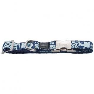 Hunter Hunter ошейник для собак ALU-Strong Baroque L (45-65 см) нейлон с металлической застежкой синий с рисунком