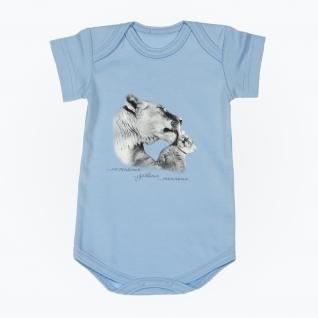 """Боди с коротким рукавом """"Мама и малыш"""" - Львы, голубое, р. 62 Leo"""