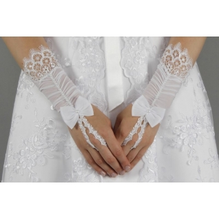 Перчатки свадебные №105, белый (короткие)