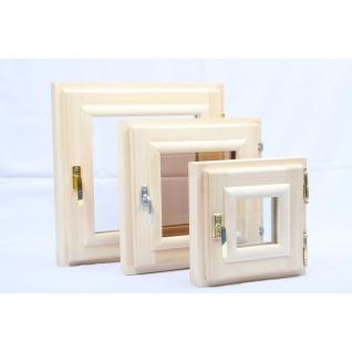 Окно банное одностворчатое, осина (стеклопакет) 300 х 300 мм