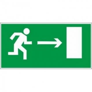 Знак безопасности E03 Напр-е к эв.вых.направо(плёнка,ф/л,300х150)уп.10шт
