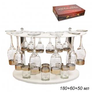 БАР набор для напитков 18 предметов Белый Барокко / 160/134/22 ГН /уп 1/ 6 бокалов+6 рюмок+6 стопок
