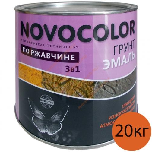 НОВОКОЛОР краска по ржавчине красно-коричневая глянцевая (20кг) / НОВОКОЛОР грунт-эмаль 3 в 1 для металла по ржавчине красно-коричневая глянцевая (20кг) Новоколор 36983597