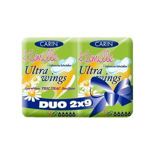 Гигиенические прокладки с крылышками Carin Ultra Wings Kamille Duo, 18 шт