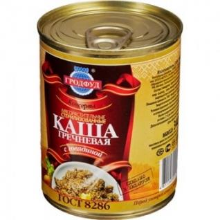 Мясные консервы Каша Гродфуд гречневая с говядиной ж/б,340гр