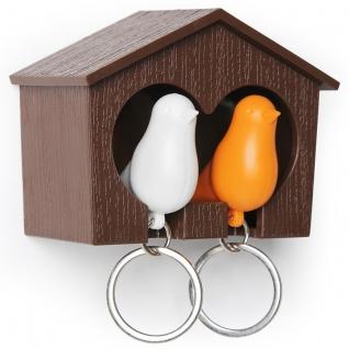 Держатель+брелок для ключей двойной Qualy Sparrow коричневый/белый/оранжевый